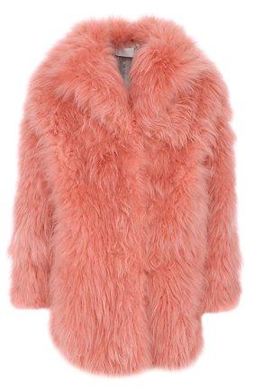 Шуба прямого кроя из меха козы Mate Official розовая | Фото №1