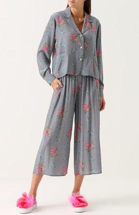 Укороченные шелковые брюки с эластичным поясом Natasha Zinko серые   Фото №1