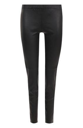Кожаные брюки-скинни с эластичным поясом   Фото №1