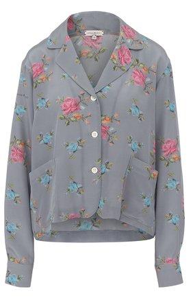 Шелковая блуза в пижамном стиле с цветочным принтом | Фото №1