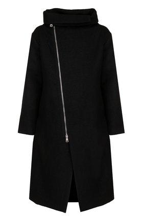 Удлиненное пальто свободного кроя из смеси льна и шерсти на молнии | Фото №1