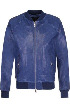 Кожаная куртка на молнии Musher синяя   Фото №1