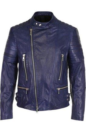 Кожаная косуха с карманами на молнии Musher темно-синяя   Фото №1