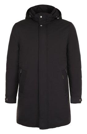 Пуховое пальто прямого кроя Moorer черного цвета | Фото №1