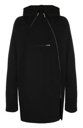 Шерстяное пальто с молниями и капюшоном | Фото №1