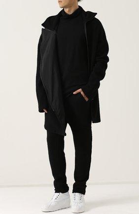 Шерстяное пальто с молниями и капюшоном Primordial is Primitive черного цвета | Фото №1