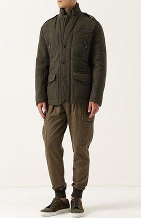 Шерстяная куртка на пуговицах с пуховой подстежкой | Фото №2