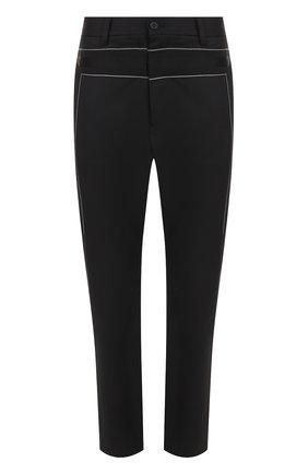 Шерстяные брюки с заниженной линией шага и контрастной прострочкой | Фото №1