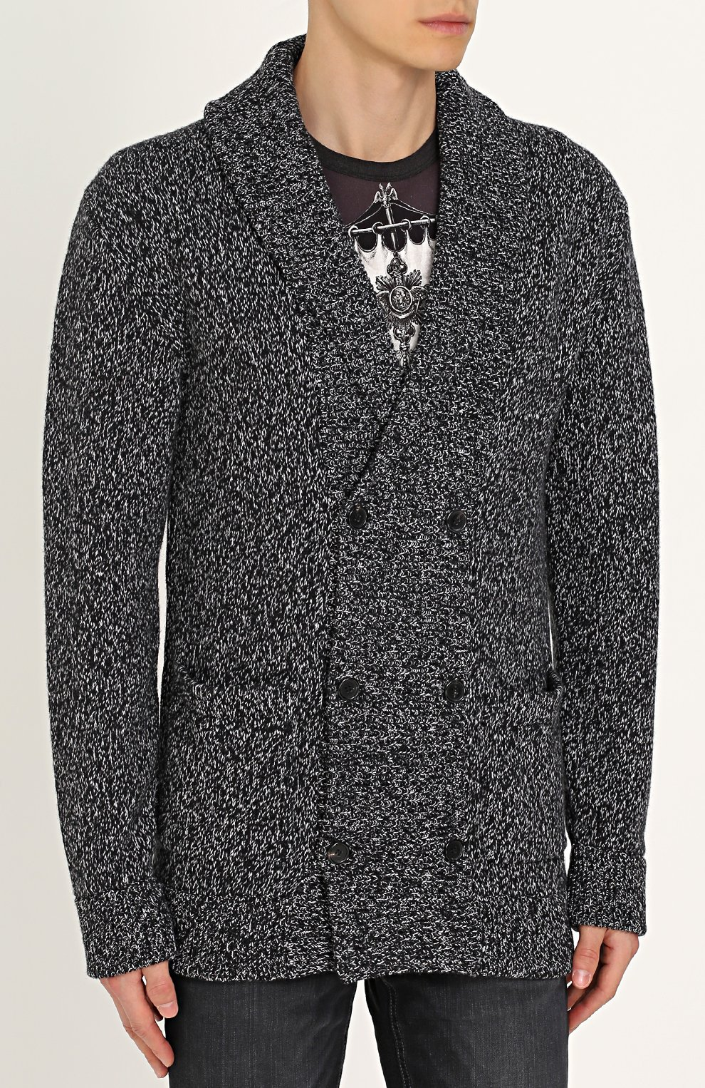 Кардиган вязаный Dolce & Gabbana серый | Фото №3