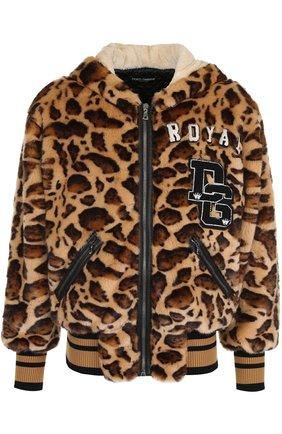 Куртка из эко-меха с леопардовым принтом на молнии с капюшоном Dolce & Gabbana коричневая | Фото №1