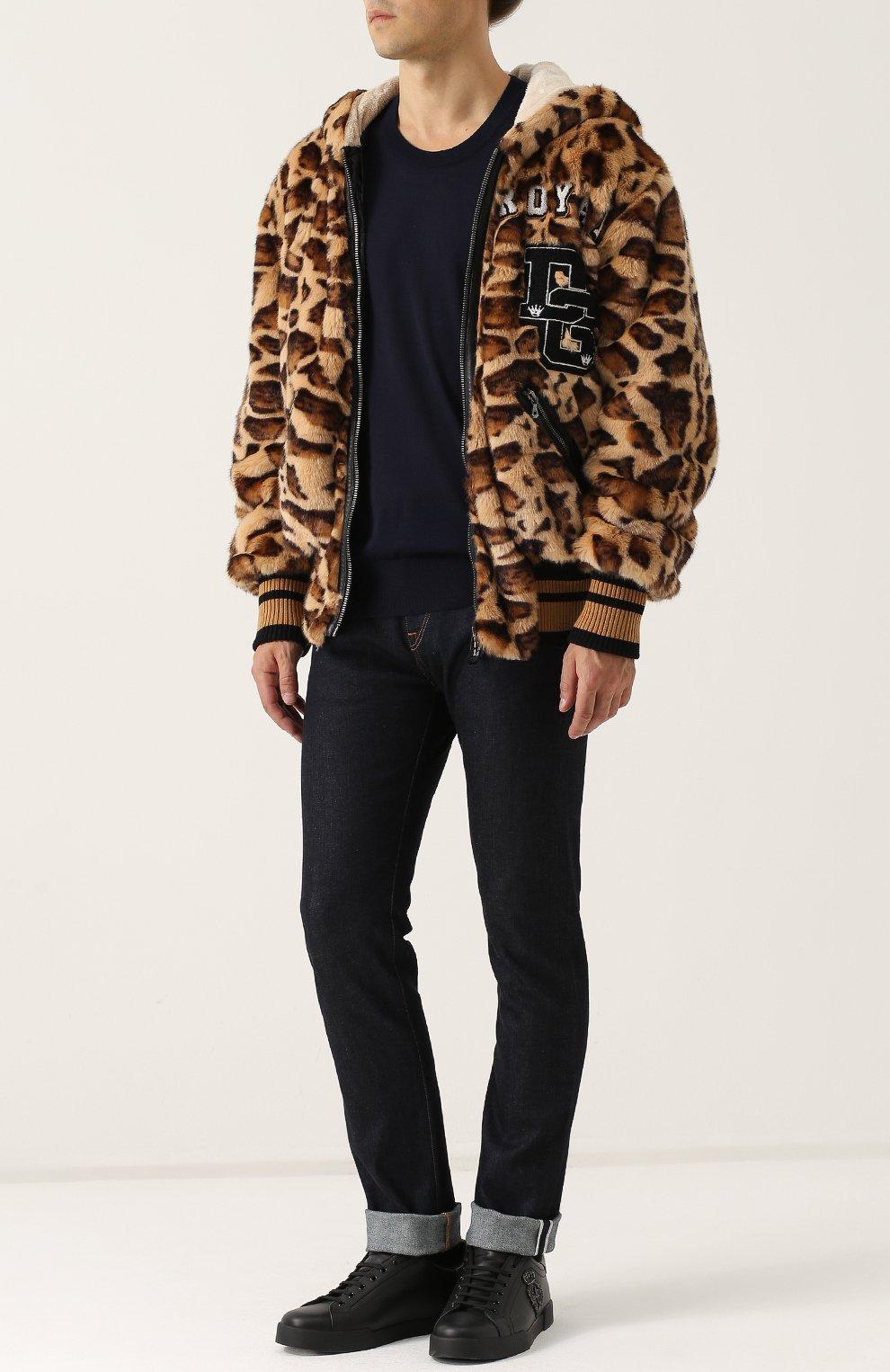 Куртка из эко-меха с леопардовым принтом на молнии с капюшоном Dolce & Gabbana коричневая | Фото №2
