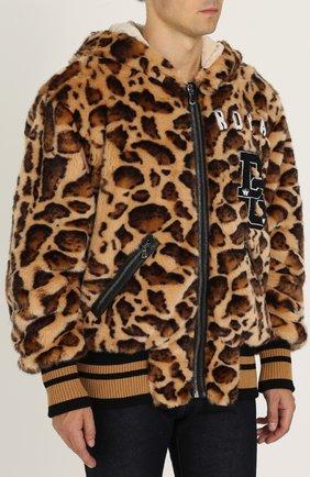 Куртка из эко-меха с леопардовым принтом на молнии с капюшоном Dolce & Gabbana коричневая | Фото №3