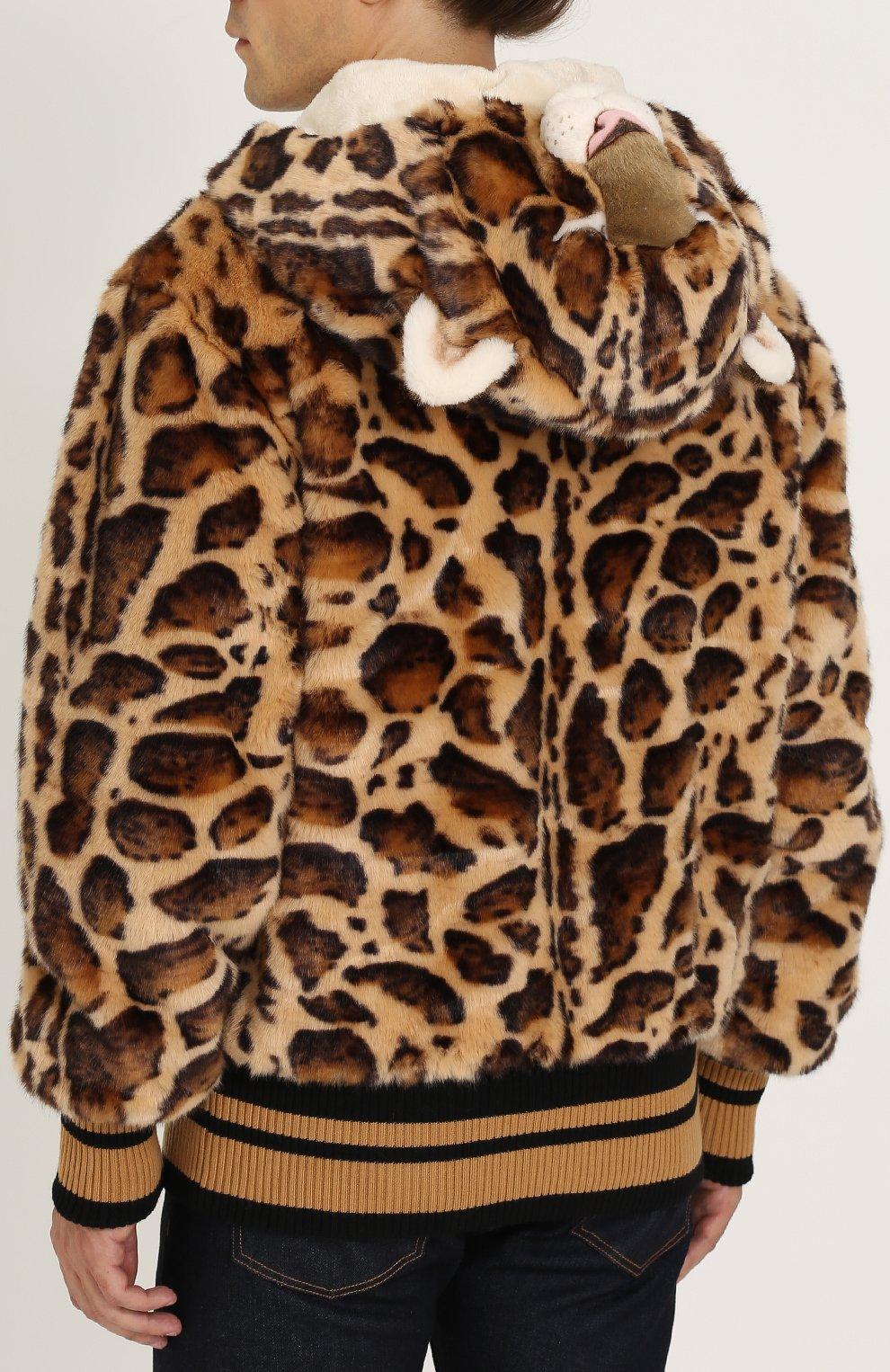 Куртка из эко-меха с леопардовым принтом на молнии с капюшоном Dolce & Gabbana коричневая | Фото №4