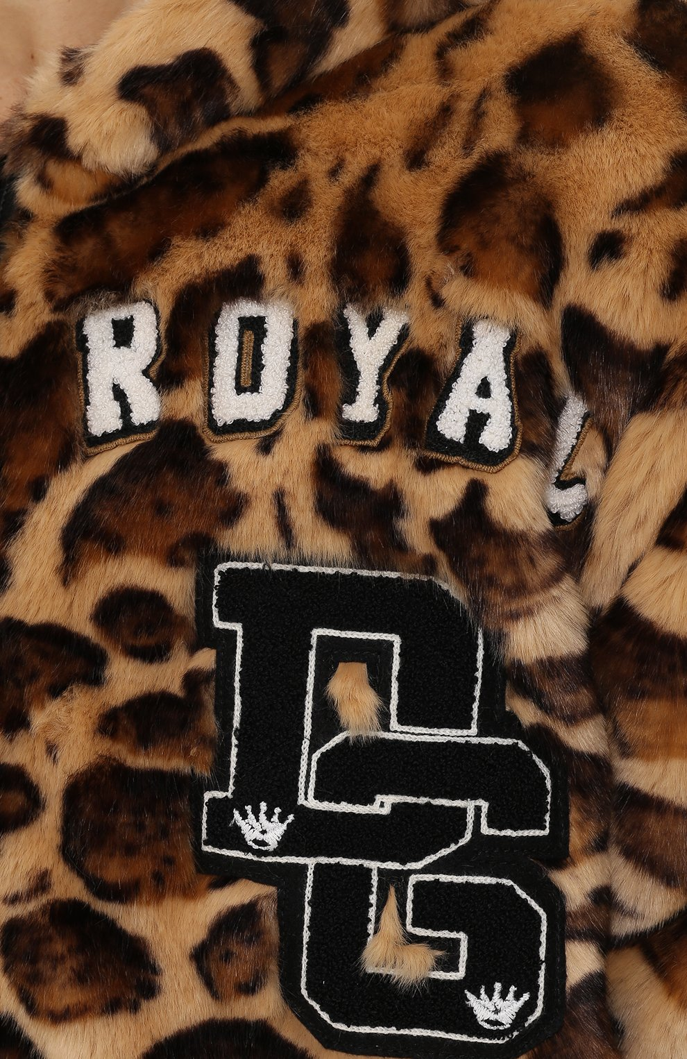 Куртка из эко-меха с леопардовым принтом на молнии с капюшоном Dolce & Gabbana коричневая | Фото №5
