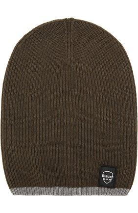 Вязаная шапка Blauer черного цвета | Фото №1