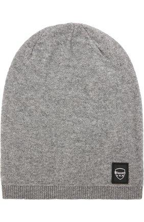 Вязаная шапка Blauer серого цвета | Фото №1
