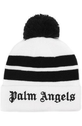 Вязаная шапка с помпоном и логотипом бренда на отвороте | Фото №1