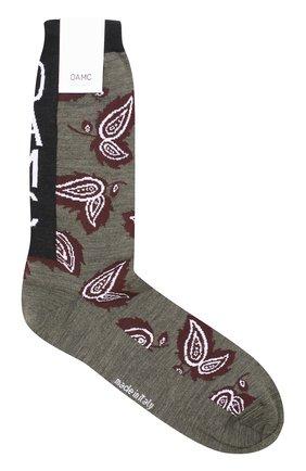 Шерстяные носки с принтом Oamc зеленые | Фото №1