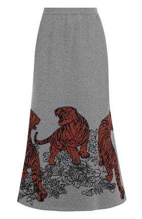 Расклешенная юбка-миди с принтом Tak.Ori светло-серая | Фото №1