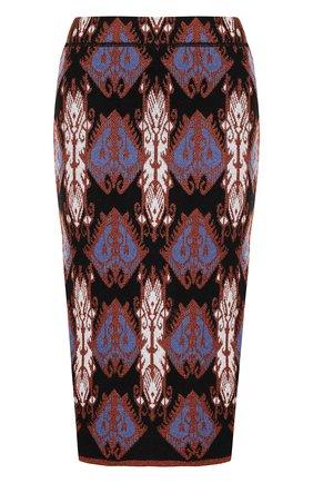 Вязаная юбка-карандаш с принтом Tak.Ori черная | Фото №1