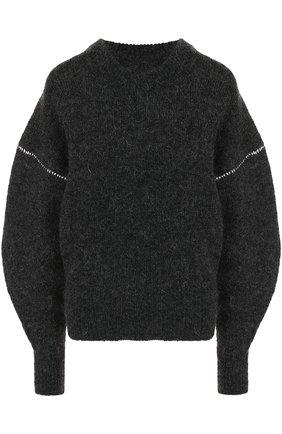 Вязаный пуловер с круглым вырезом и объемными рукавами | Фото №1