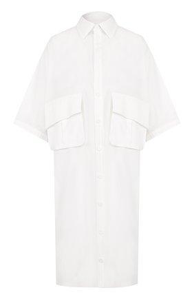 Хлопковое платье-рубашка с накладными карманами | Фото №1