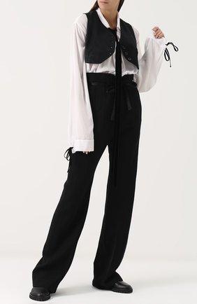 Шерстяные брюки прямого кроя с завышенной талией и поясом Ann Demeulemeester черные | Фото №1