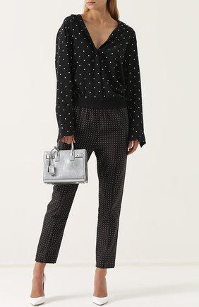 Женская шелковая блуза свободного кроя T by Alexander Wang, цвет черно-белый, арт. 4W271015R8 в ЦУМ | Фото №1