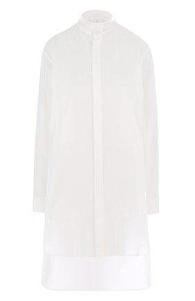 Хлопковая блуза свободного кроя с удлиненной спинкой | Фото №1