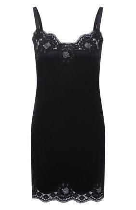 Женская шелковая сорочка с кружевной отделкой DOLCE & GABBANA черного цвета, арт. 0122/06A00T/FUADG | Фото 1