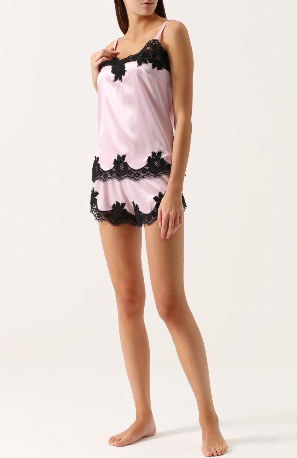 Шелковые шорты с кружевной отделкой Dolce & Gabbana светло-розовые   Фото №2