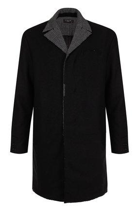 Шерстяное однобортное пальто с отложным воротником   Фото №1