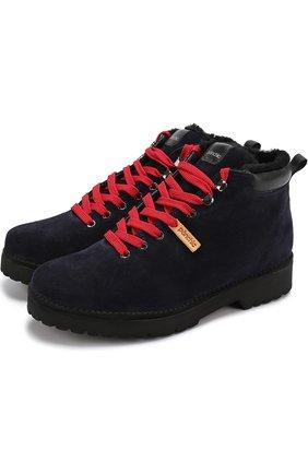 Замшевые ботинки на контрастной шнуровке