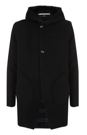 Шерстяное двустороннее пальто с капюшоном | Фото №1