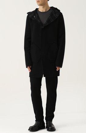 Шерстяное двустороннее пальто с капюшоном Primordial is Primitive черного цвета | Фото №1