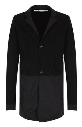 Шерстяное однобортное пальто с отложным воротником