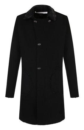 Шерстяное двусторонне пальто с отложным воротником Primordial is Primitive черного цвета | Фото №1