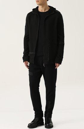 Хлопковые брюки с нашивками Primordial is Primitive черный | Фото №1