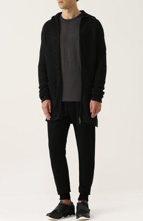 Вязаный кардиган из смеси шерсти и шелка с хлопком Primordial is Primitive черный | Фото №1
