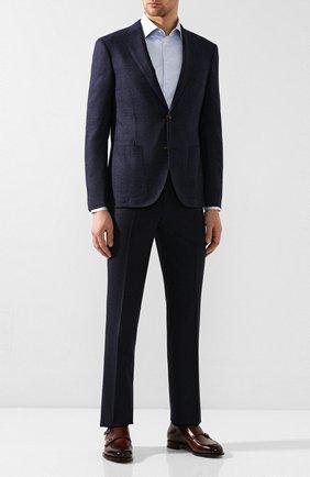 Мужские шерстяные брюки LUCIANO BARBERA темно-синего цвета, арт. 104014/45462 | Фото 2