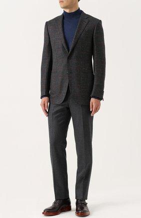 Кожаные оксфорды с ремешком Zegna Couture бордовые | Фото №1