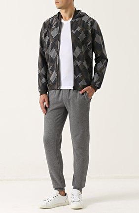 Мужской хлопковые джоггеры с карманами BOSS серого цвета, арт. 50375967 | Фото 2