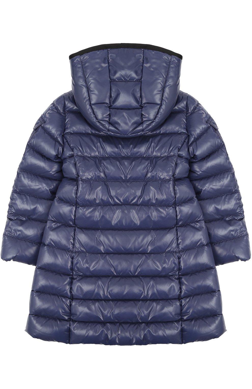 Пуховое пальто с контрастной отделкой и капюшоном | Фото №2