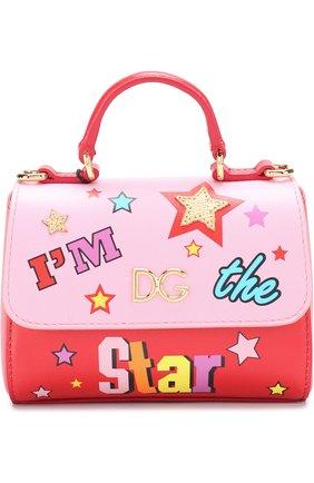 Кожаная сумка с принтом Dolce & Gabbana красного цвета | Фото №1