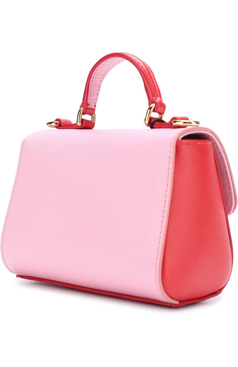 Кожаная сумка с принтом Dolce & Gabbana красного цвета | Фото №2