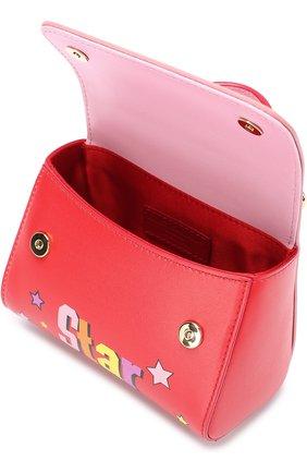 Кожаная сумка с принтом Dolce & Gabbana красного цвета | Фото №3