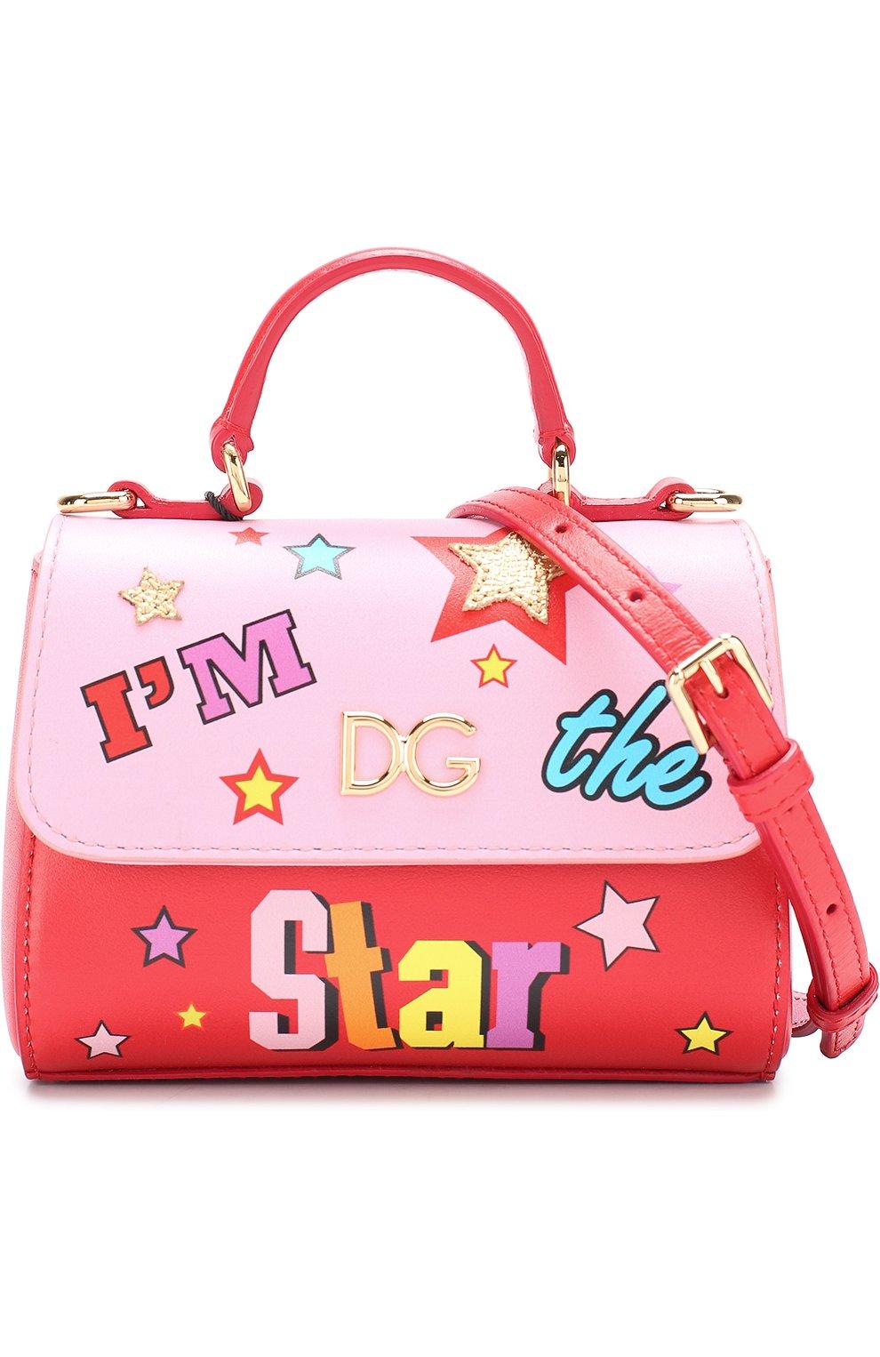 Кожаная сумка с принтом Dolce & Gabbana красного цвета | Фото №4