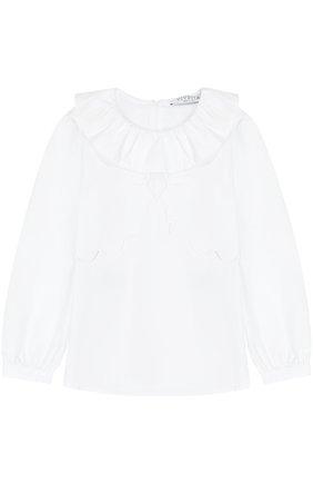 Детская хлопковая блуза с оборкой и фигурным декором Vivetta белого цвета | Фото №1