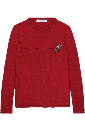 Вязаный свитер с аппликацией   Фото №1