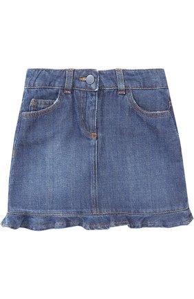 Мини-юбка из денима с вышивкой и оборкой | Фото №1